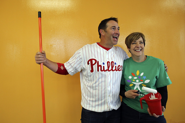 "DIY Network's ""House Crashers"" star Josh Temple and Comcast Senior Vice President LeAnn Talbot"