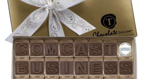 Comcast Business spelled out in chocolate.